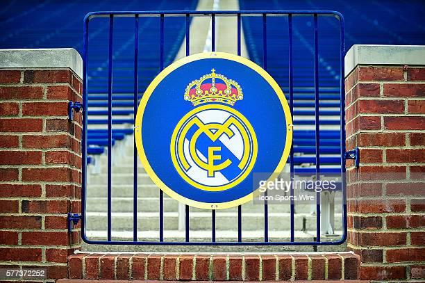 Logo real madrid stock photos and pictures getty images the logo of real madrid before the real madrid v manchester united match saturday afternoon in voltagebd Images