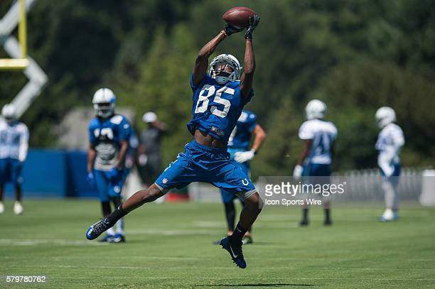 Indianapolis Colts wide receiver Ryan Lankford leaps to make a catch during the Indianapolis Colts Training Camp at Anderson University in Anderson IN