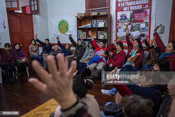 August 2 2015 LIMA PERU Members of the SINTRAHOL a domestic workers union gathers to vote on new board members for their next fiscal year SINTRAHOL...