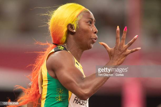 August 2: Shelly-Ann Fraser-Pryce of Jamaica in action during the 200m semi finals for women during the Track and Field competition at the Olympic...