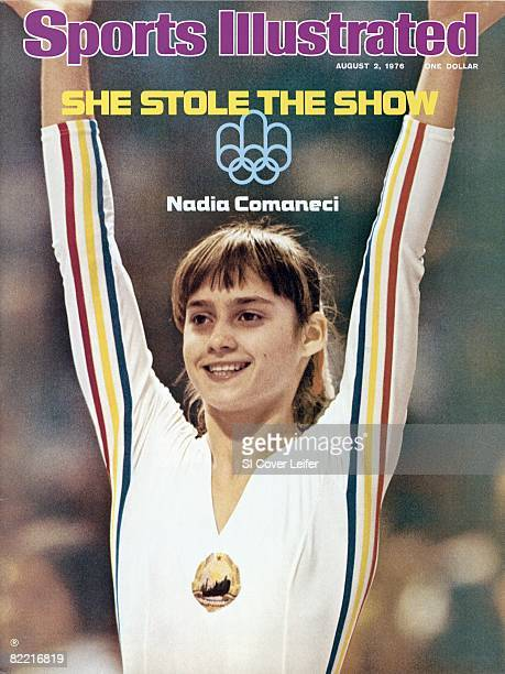 August 2 Sports Illustrated via Getty Images Cover Gymnastics 1976 Summer Olympics Closeup of Romania Nadia Comaneci victorious during competition at...