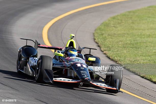 Sebastien Bourdais driver of the Team HydroxycutKVSH Racing Chevrolet races through turn 3 during Saturday's practice for the ABC Supply 500 at...