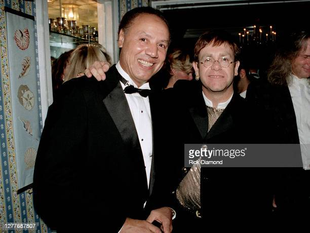 Atlanta Hawks coach Lenny Wilkens and Elton John attend Elton John Aids Foundation charity hosted by his neighbors at Elton's Atlanta home Park Place...