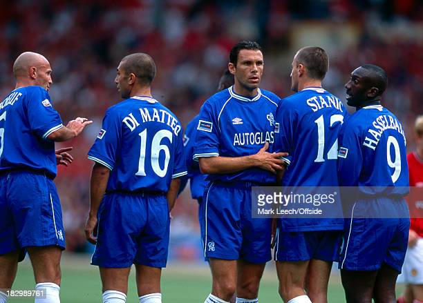 13 August 2000 Charity Shield Chelsea v Manchester United The Chelsea defence create a wall to block the free kick