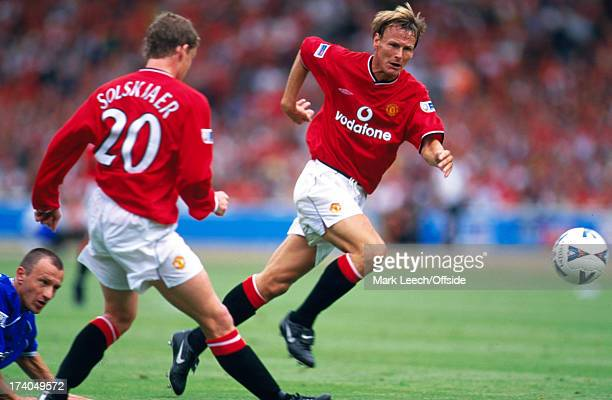 13 August 2000 FA Charity Shield Chelsea v Manchester United Teddy Sheringham runs on to a pass from United teammate Ole Solskjaer