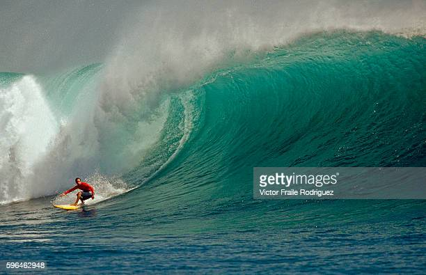 30 August 2006 Java Indonesia Professional surfer Raul Garcia of Spain surfs a big wavr at GLand in the southern coast of Java Indonesia
