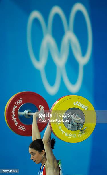 09 August 2008 Beijing China Melanie Noel of France competes in the Women's 48 KG Weightlifiting during the Beijing 2008 Olympics Games Photo by...