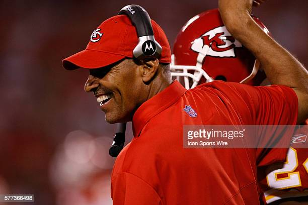 Chiefs head coach Herm Edwards congratulates a player The Kansas City Chiefs lost to the the Arizona Cardinals 17 to 21 at Arrowhead Stadium in...