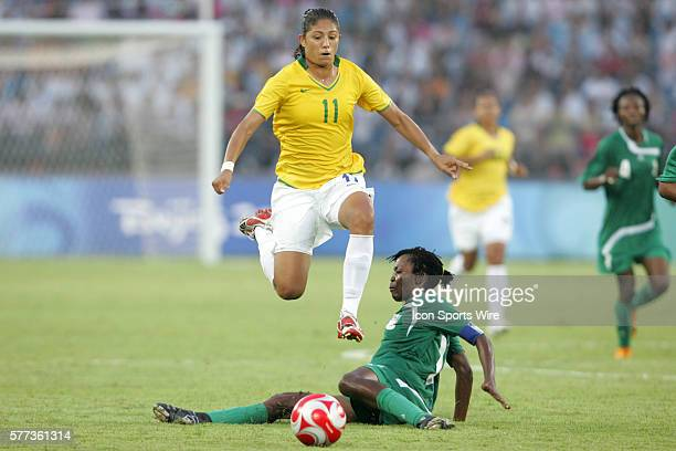 Cristiane hurdles Christie George The women's Olympic team of Brazil defeated the women's Olympic soccer team of Nigeria 31 at Beijing Workers'...