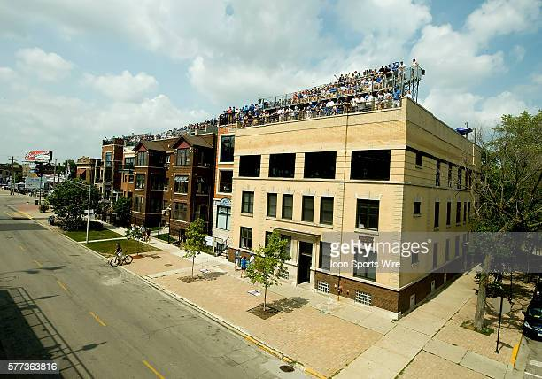 Wrigleyville area rooftop seats that face the left field wall facing Wrigley Field Chicago Il