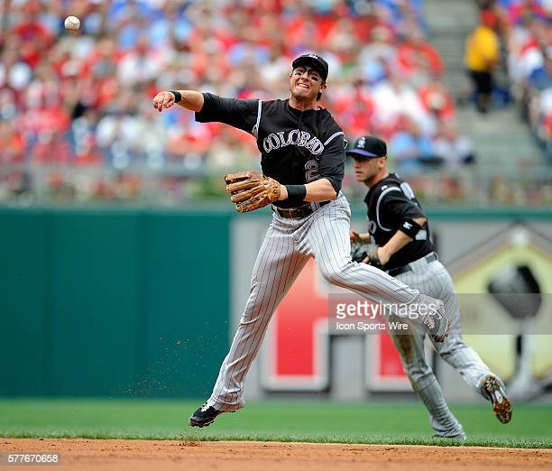 Colorado Rockies shortstop Troy Tulowitzki throws out Philadelphia Phillies center fielder Shane Victorino in the third inning during the Phillies 31...