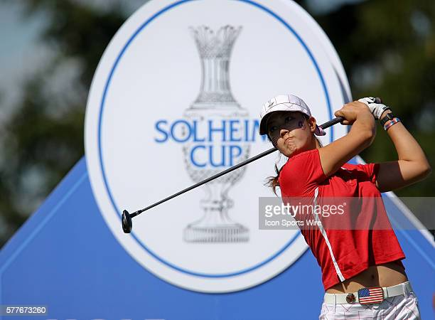 Michelle Wie tees off on the second hole during the singles competition on the final day of the Solheim Cup at the Rich Harvest Farms Golf Club on in...