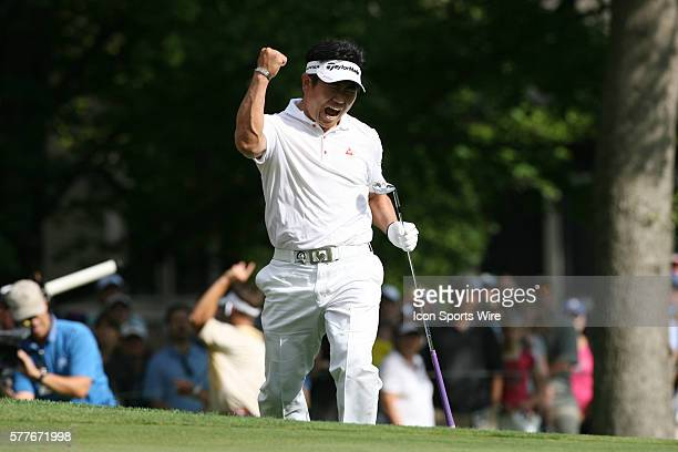 Yang of South Korea celebrates after holing out for eagle on the 14th hole during the final round of the 91st PGA Championship at Hazeltine National...