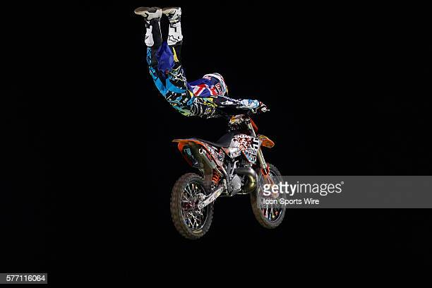 August 2010 Levi Sherwood in action during the London stage of The Red Bull XFighters freestyle Motorcycle Cross Tournament held at Battersea Power...