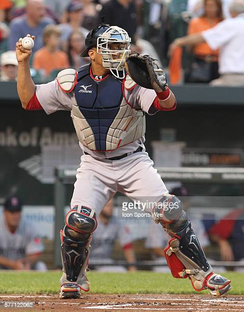 Red Sox catcher Victor Martinez in action during the Baltimore Orioles 5-2 victory versus the visiting Boston Red Sox at Oriole Park at Camden Yards...