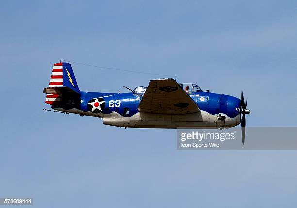 The Grumman Avenger a World War II plane torpedo bomber flew at the Wings Over Waukesha Airshow at Crites Field in Waukesha WI