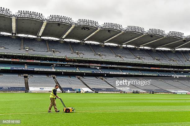 29 August 2014 A Croke Park Stadium groundsman lines the pitch during preparations ahead of the Croke Park Classic Penn State v University of Central...