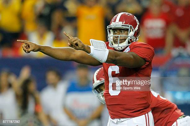 Alabama Crimson Tide quarterback Blake Sims in first half action of the West Virginia v Alabama game in the ChickFilA kickoff game at the Georgia...