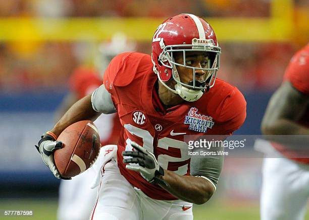 Alabama Crimson Tide wide receiver Christion Jones in first half action of the West Virginia v Alabama game in the ChickFilA kickoff game at the...
