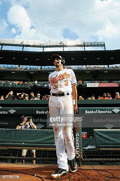 Baltimore Orioles third baseman Ryan Flaherty is interviewed following the game against the Minnesota Twins at Orioles Park at Camden Yards in...