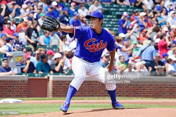 Chicago Cubs Japanese pitcher Tsuyoshi Wada pitching in a MLB interleague game between the Chicago Cubs and the Baltimore Orioles at Wrigley Field...