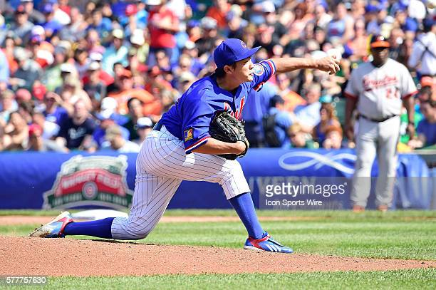 Chicago Cubs starting pitcher Tsuyoshi Wada pitching in a MLB interleague game between the Chicago Cubs and the Baltimore Orioles at Wrigley Field...