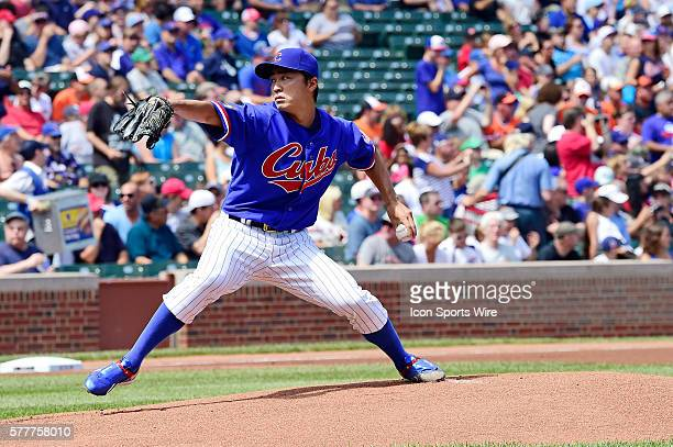 Cubs' Japanese pitcher Tsuyoshi Wada pitching in a MLB interleague game between the Chicago Cubs and the Baltimore Orioles at Wrigley Field Chicago...