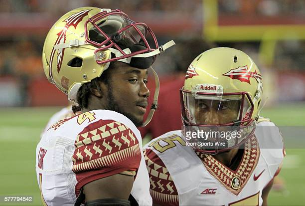 30 August 2014 Florida State Seminoles running back Dalvin Cook and Florida State Seminoles wide receiver Travis Rudolph on the sidelines during the...