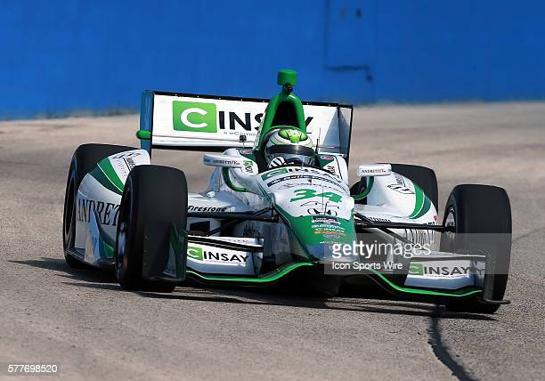 Indy car driver Carlos Munoz comes through turn one during practice for the ABC Supply Wisconsin 250 scheduled on Sunday August 17th at The Milwaukee...