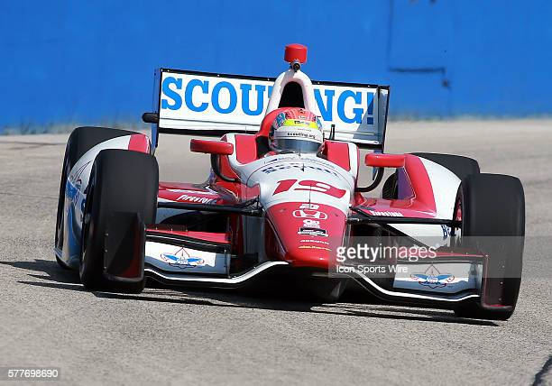 Indy car driver Justin Wilson comes through turn one during practice for the ABC Supply Wisconsin 250 scheduled on Sunday August 17th at The...