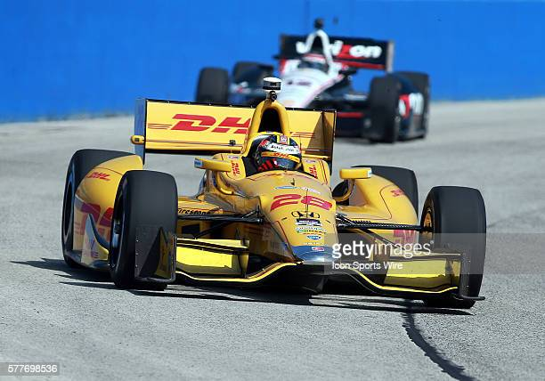 Indy car driver Ryan Hunter-Reay comes through turn one during practice for the ABC Supply Wisconsin 250 scheduled on Sunday August 17th at The...