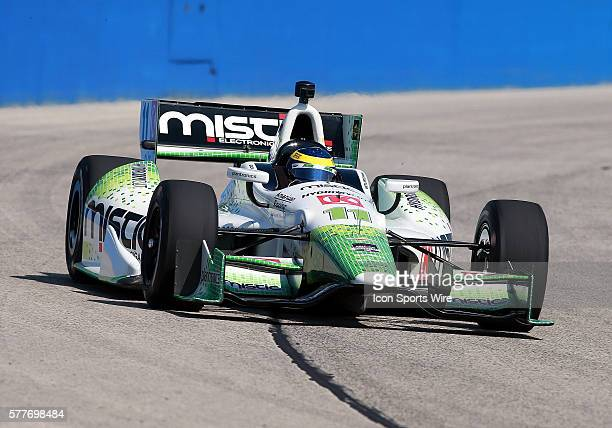 Indy car driver Sebastien Bourdais i comes through turn one during practice for the ABC Supply Wisconsin 250 scheduled on Sunday August 17th at The...