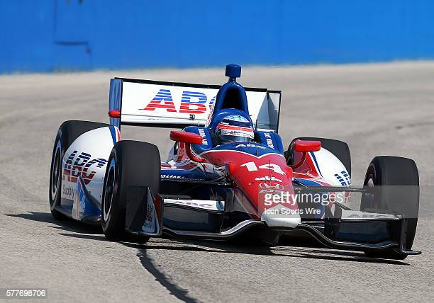 Indy car driver Takuma Sato comes through turn one during practice for the ABC Supply Wisconsin 250 scheduled on Sunday August 17th at The Milwaukee...