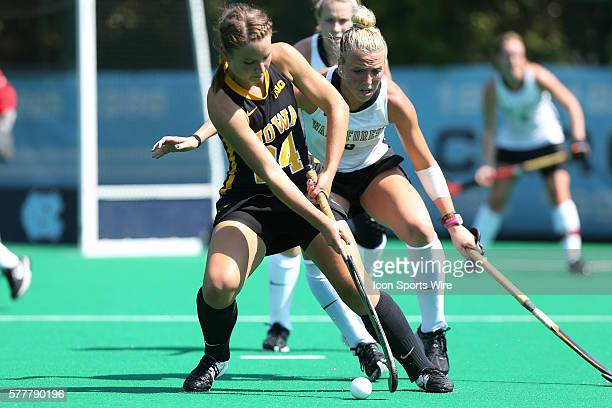 Iowa's Melissa Progar and Wake Forest's Madi Julius The Wake Forest University Demon Deacons played the University of Iowa Hawkeyes at Francis E...