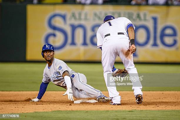 Kansas City Royals Outfield Jarrod Dyson [7556] steals second base during the Major League Baseball game between the Kansas City Royals and the Texas...