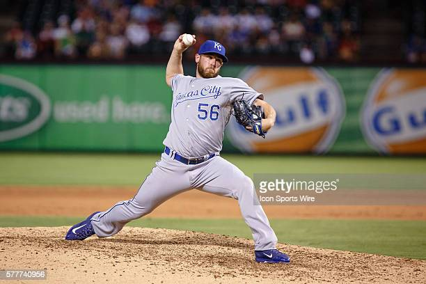 Kansas City Royals Pitcher Greg Holland [8308] pitches in relief during the Major League Baseball game between the Kansas City Royals and the Texas...