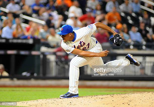 August, 2014 New York Mets Relief Pitcher Jeurys Familia [7925] throws a pitch during the eighth inning of the game between the Atlanta Braves and...