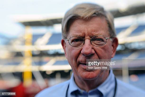 Noted columnist, George F. Will, attends a game at Nationals Park in Washington, D.C.