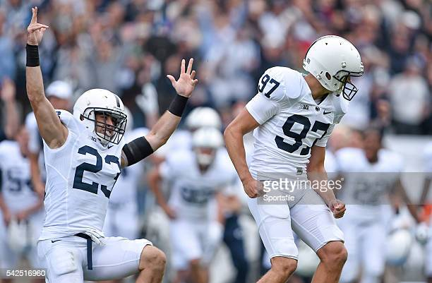 30 August 2014 Penn State kicker Sam Ficken and teammate Ryan Keiser celebrate after kicking the winning field goal Croke Park Classic 2014 Penn...