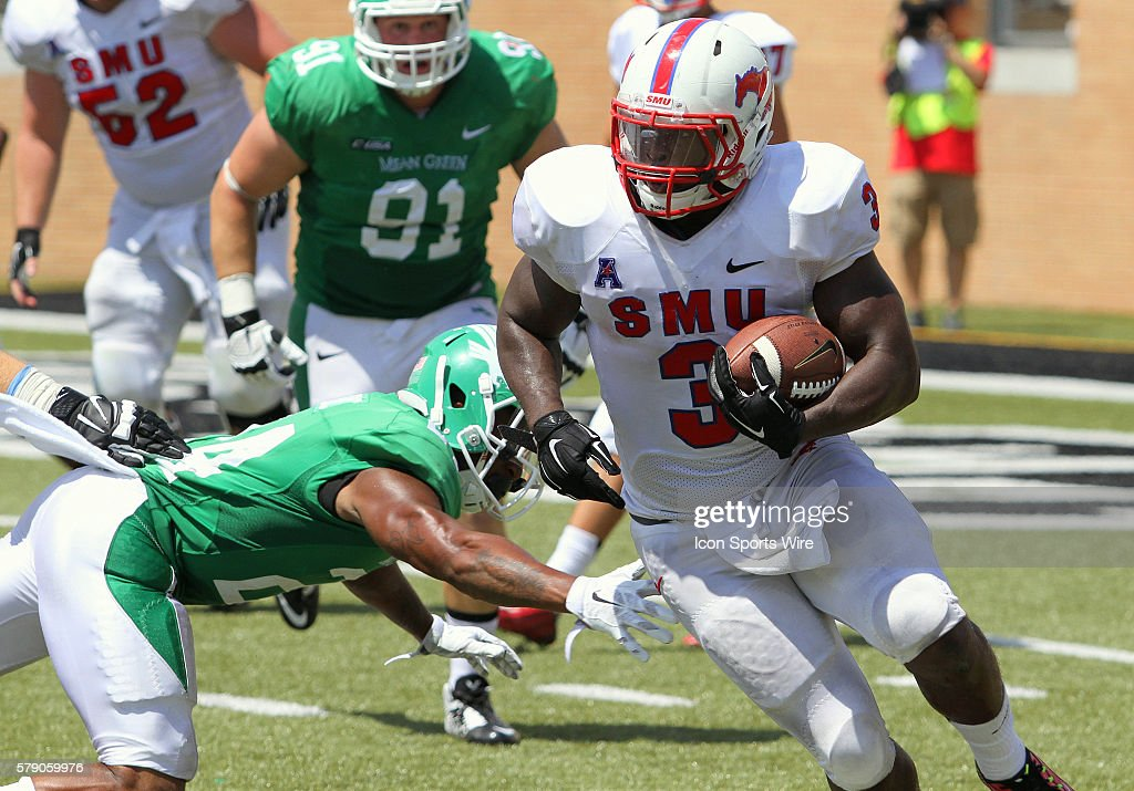 06 August 2014 - SMU Mustangs running back Kevin Pope (#3) during the college football game between the SMU Mustangs and the North Texas Mean Green at Apogee Stadium in Denton, Texas. North Texas won the game 43-6.