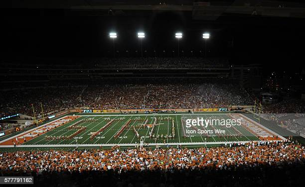 The Texas band spells out the word 'Strong' during halftime of 38 7 win over North Texas at Darrell K RoyalTexas Memorial Stadium in Austin Texas