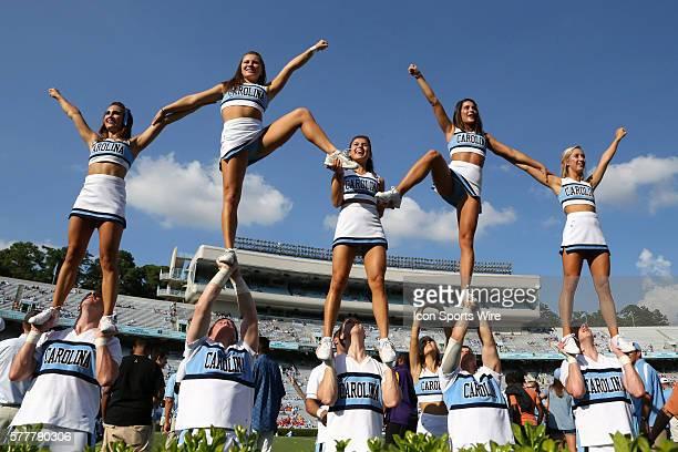 UNC cheerleaders The University of North Carolina Tar Heels hosted the Liberty University Flames at Kenan Memorial Stadium in Chapel Hill North...