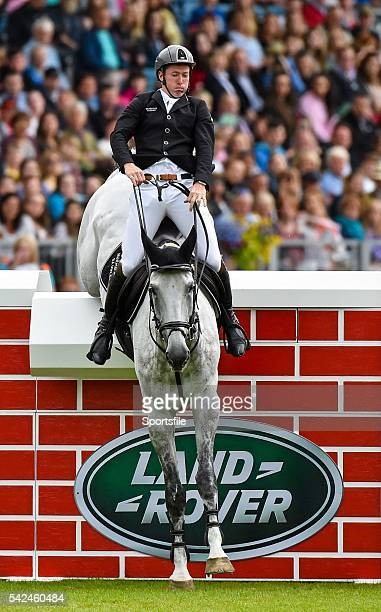 8 August 2015 Alexander Butler Ireland competing on Bellscross Cruisedown during the Land Rover Puissancein during the Discover Ireland Dublin Horse...