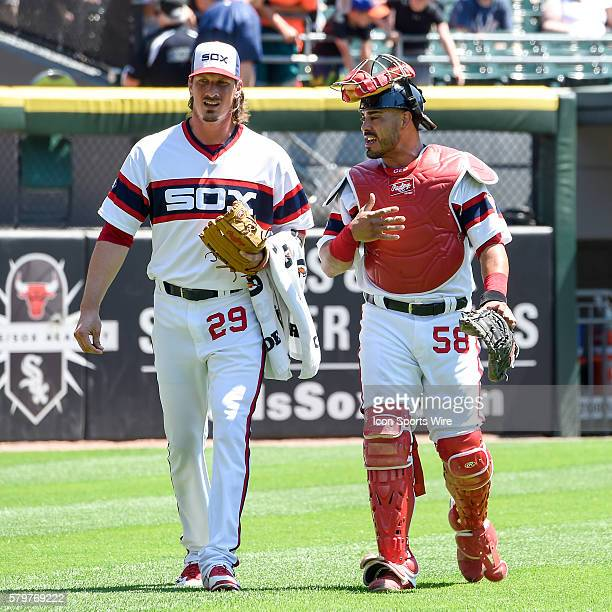 Battery mates Chicago White Sox Starting pitcher Jeff Samardzija [6477] and Chicago White Sox Catcher Geovany Soto [5211] ready for action in a MLB...