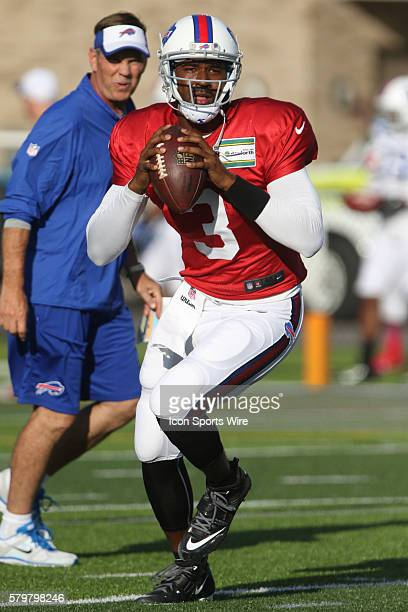 Buffalo Bills quarterback EJ Manuel in action during the Buffalo Bills Training Camp at St John Fisher College in Pittsford New York