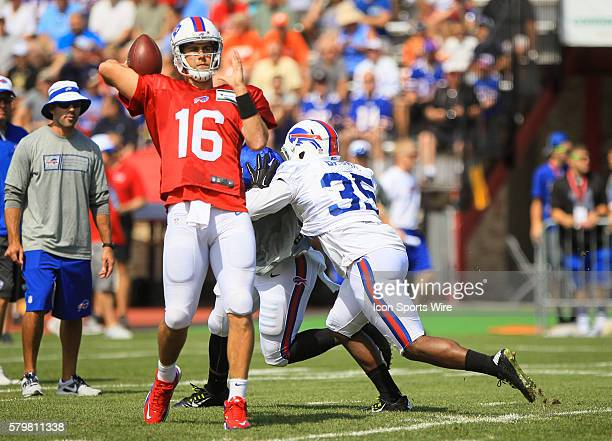 Buffalo Bills quarterback Matt Cassel in action during the Buffalo Bills Training Camp at St John Fisher College in Pittsford New York