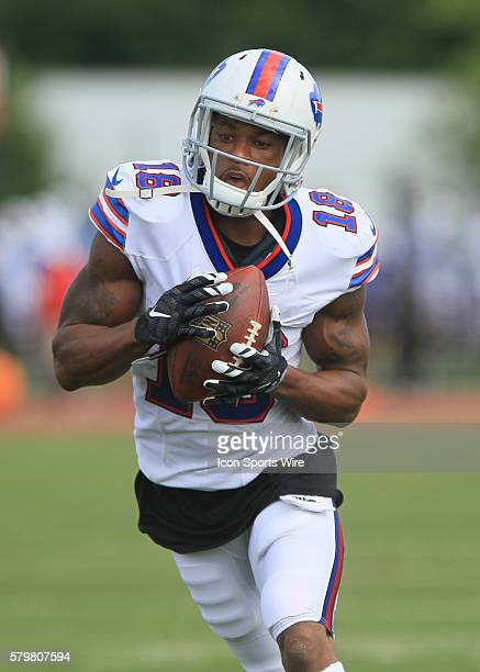 Buffalo Bills wide receiver Percy Harvin in action during the Buffalo Bills Training Camp at St John Fisher College in Pittsford New York