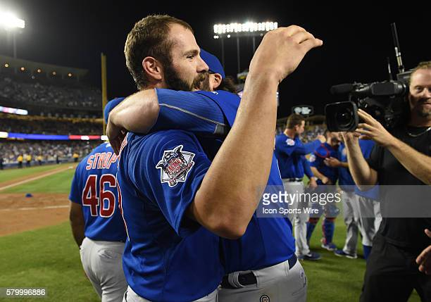 Chicago Cubs Starting pitcher Jake Arrieta [4002] celebrates after throwing the final strikeout of the game to clench his first no-hitter during a...