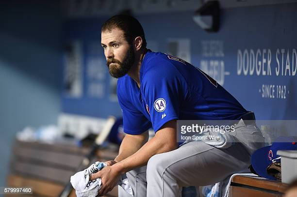 Chicago Cubs Starting pitcher Jake Arrieta [4002] hits for a single sits in the dugout as the bottom of the 9th inning approaches during a Major...