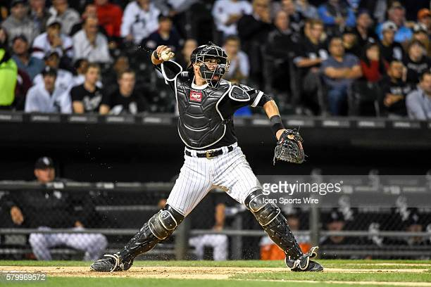 Chicago White Sox Catcher Geovany Soto [5211] guns down Boston Red Sox Outfield Jackie Bradley Jr [8993] at second base during a MLB game between the...